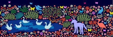 Modello senza cuciture per la pittura e gli affreschi della parete Uccelli ed animali di fantasia in dar Fotografie Stock Libere da Diritti