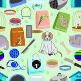Modello senza cuciture per un negozio di animali, consistente di 22 elementi differenti illustrazione vettoriale