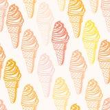 Modello senza cuciture perfetto con i coni gelati Immagini Stock Libere da Diritti