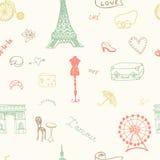 Modello senza cuciture perfetto di Parigi con tutti i simboli royalty illustrazione gratis