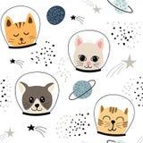 Modello senza cuciture puerile con gli astronauti svegli dei gatti illustrazione di vettore per tessuto, tessuto, carta da parati royalty illustrazione gratis