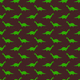Modello senza cuciture puerile di Brown con il brontosauro verde Fotografia Stock Libera da Diritti