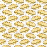 Modello senza cuciture riempito di vettore delle baguette del pane, disegnato a mano illustrazione di stock