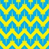 Modello senza cuciture rombico geometrico semplice nel colore blu e giallo Fotografia Stock Libera da Diritti