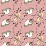 Modello senza cuciture rosa disegnato a mano floreale Fotografie Stock