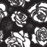 Modello senza cuciture, rose bianche su un backgroun nero illustrazione di stock