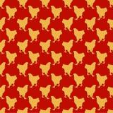 Modello senza cuciture rosso con il tema cinese del nuovo anno dei galli gialli Fotografie Stock Libere da Diritti