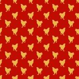 Modello senza cuciture rosso con il tema cinese del nuovo anno dei galli gialli Immagini Stock Libere da Diritti