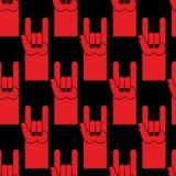Modello senza cuciture rosso del segno della mano della roccia Fondo del simbolo del ro Fotografia Stock Libera da Diritti
