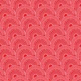 Modello senza cuciture rosso del semicerchio antico cinese del modello Fotografie Stock