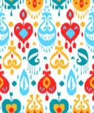 Modello senza cuciture rosso del tessuto tradizionale asiatico variopinto blu e bianco del ikat, vettore Fotografie Stock