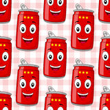 Modello senza cuciture rosso della latta di soda del fumetto Immagini Stock Libere da Diritti