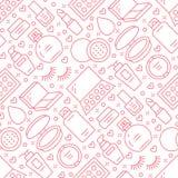 Modello senza cuciture rosso di cura di bellezza di trucco con la linea piana icone Illustrazioni dei cosmetici di rossetto, polv Fotografia Stock Libera da Diritti