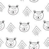 Modello senza cuciture scandinavo sveglio con gli orsi illustrazione di stock