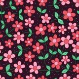 Modello senza cuciture scuro verde rosa-rosso del batik del fiore royalty illustrazione gratis