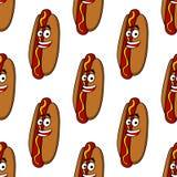 Modello senza cuciture sorridente del hot dog Fotografia Stock Libera da Diritti