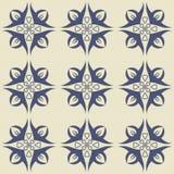Modello senza cuciture splendido dagli ornamenti floreali blu scuro e bianchi illustrazione vettoriale