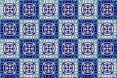 Modello senza cuciture splendido dalle mattonelle marocchine e portoghesi blu scuro e bianche, Azulejo, ornamenti può essere usat Immagine Stock Libera da Diritti