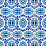 Modello senza cuciture splendido dalle mattonelle marocchine e portoghesi blu scuro e bianche, Azulejo, ornamenti Fotografia Stock Libera da Diritti