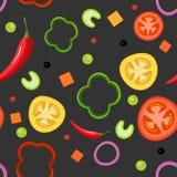Modello senza cuciture su fondo scuro con le verdure Pomodori rossi e gialli, paprica, peperoncini, cipolle, piselli illustrazione di stock