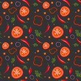 Modello senza cuciture su fondo scuro con le verdure rosse Pomodori, paprica, peperoncini, cipolle ed aneto Vettore illustrazione vettoriale