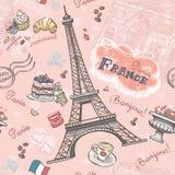Modello senza cuciture su Parigi dagli elementi romantici illustrazione vettoriale