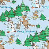 Modello senza cuciture su un tema di Natale con il pupazzo di neve ed i gatti Fotografia Stock Libera da Diritti