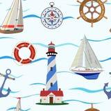 Modello senza cuciture sul tema di navigazione e del mare Illustrazione di vettore royalty illustrazione gratis