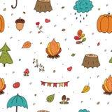 Modello senza cuciture sveglio con Autumn Floral Forest Design Elements sveglio disegnato a mano illustrazione vettoriale