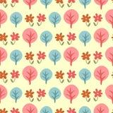 Modello senza cuciture sveglio con gli alberi ed i fiori Immagine Stock