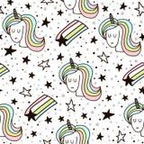 Modello senza cuciture sveglio con gli unicorni e lo starfall leggiadramente Struttura puerile per tessuto, tessuto Stile scandin Immagine Stock