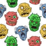Modello senza cuciture sveglio con gli zombie Immagini Stock