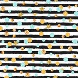 Modello senza cuciture sveglio con i cerchi e le stelle blu e dorati, bande in bianco e nero Fotografia Stock Libera da Diritti