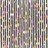 Modello senza cuciture sveglio con i cerchi e le stelle rosa e dorati, bande in bianco e nero illustrazione di stock