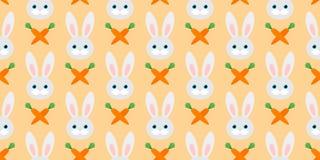 Modello senza cuciture sveglio con i conigli e le carote Illustrazione di vettore illustrazione di stock