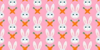 Modello senza cuciture sveglio con i conigli e le carote Illustrazione di vettore royalty illustrazione gratis