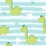 Modello senza cuciture sveglio con i dinosauri divertenti Illustrazione di vettore Immagine Stock