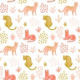 Modello senza cuciture sveglio con i leopardi, le foglie tropicali e le forme Carta da parati disegnata a mano illustrazione vettoriale