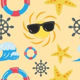 Modello senza cuciture sveglio con i simboli di estate illustrazione vettoriale