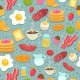 Modello senza cuciture sveglio con l'alimento di prima colazione Fotografie Stock Libere da Diritti