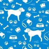 Modello senza cuciture sveglio con la siluetta del cane, ciotola, tracce, osso, b illustrazione vettoriale