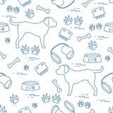 Modello senza cuciture sveglio con la siluetta del cane, ciotola, tracce, osso, b royalty illustrazione gratis