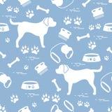 Modello senza cuciture sveglio con la siluetta del cane, ciotola, tracce, osso, b illustrazione di stock