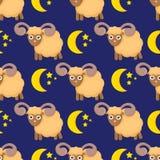 Modello senza cuciture sveglio con le pecore nelle nuvole illustrazione vettoriale