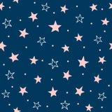 Modello senza cuciture sveglio con le stelle sparse ed i punti rotondi Stampa girly ripetuta royalty illustrazione gratis