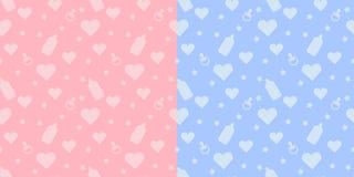 Modello senza cuciture sveglio dei bambini stabiliti con le forme del biberon, tettarella, cuore su fondo blu e rosa illustrazione di stock