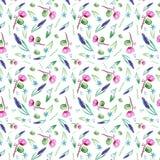 Modello senza cuciture sveglio dei fiori della molla Fiori dell'acquerello su fondo bianco illustrazione di stock