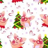 Modello senza cuciture sveglio del maiale con il maiale di dancing e intellegent illustrazione di stock
