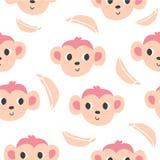 Modello senza cuciture sveglio delle banane e delle scimmie illustrazione di stock