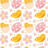 Modello senza cuciture sveglio di Pasqua con gli uccelli e le uova Fondo senza fine della primavera, struttura, carta digitale Il Fotografia Stock Libera da Diritti